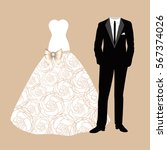 wedding card with the clothes...   Shutterstock .eps vector #567374026