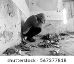 sitting women in depression ... | Shutterstock . vector #567377818