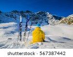 mountaineer backcountry ski... | Shutterstock . vector #567387442