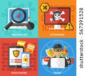 four colorful hacking... | Shutterstock .eps vector #567391528