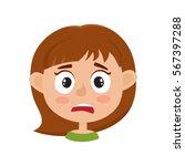 little girl scared face... | Shutterstock .eps vector #567397288