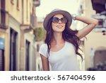 close up fashion woman portrait ... | Shutterstock . vector #567404596