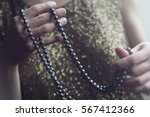 close up of a retro woman in... | Shutterstock . vector #567412366