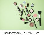 make up products arranged on a... | Shutterstock . vector #567422125