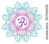 diwali om symbol with mandala . ... | Shutterstock .eps vector #567426532