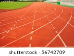 Lanes Of A Red Race Track With...