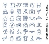 travel thin line icons set | Shutterstock .eps vector #567435352