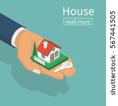 hand giving house keys... | Shutterstock .eps vector #567441505