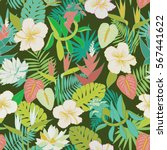 seamless tropical jungle floral ... | Shutterstock .eps vector #567441622