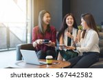 3 teenagers friends meet in... | Shutterstock . vector #567442582