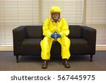 professional in protective... | Shutterstock . vector #567445975