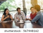 4 people meeting in coffee shop ... | Shutterstock . vector #567448162