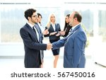 meeting of two business...   Shutterstock . vector #567450016