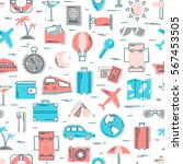 travel colorful line icons... | Shutterstock .eps vector #567453505