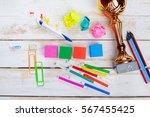 school supplies on wooden...   Shutterstock . vector #567455425