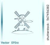windmill vector icon. mill. | Shutterstock .eps vector #567456382