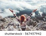 happy woman traveler on...   Shutterstock . vector #567457942