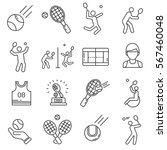 set of tennis related vector... | Shutterstock .eps vector #567460048