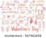 happy valentines day watercolor ... | Shutterstock . vector #567462658