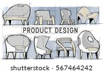 armchair furniture sketch plan... | Shutterstock . vector #567464242