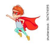 funny little boy flies through... | Shutterstock .eps vector #567474595