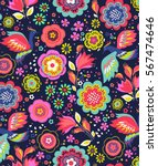 trendy seamless floral pattern... | Shutterstock .eps vector #567474646