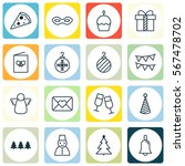 set of 16 happy new year icons. ... | Shutterstock .eps vector #567478702