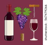 bottle  glass of wine  cork ... | Shutterstock .eps vector #567479266