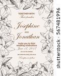 vector wedding invitation with... | Shutterstock .eps vector #567481996