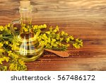 rapeseed oil with rape flowers. | Shutterstock . vector #567486172
