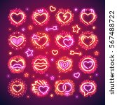 set of glowing valentines... | Shutterstock .eps vector #567488722