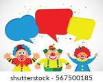 Set Of Colorful Clowns With...