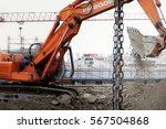 excavator construction chain... | Shutterstock . vector #567504868