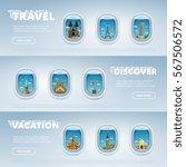 traveling by plane. landmarks... | Shutterstock . vector #567506572