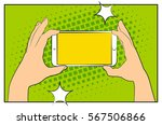 comic phone with halftone... | Shutterstock .eps vector #567506866