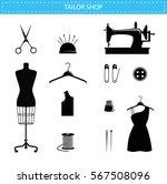 tailor shop icons  scissors ... | Shutterstock .eps vector #567508096