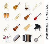 musical instruments stickers... | Shutterstock .eps vector #567512122