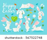 Stock vector eastern bunny vector illustration happy rabbit for easter banner collection 567522748