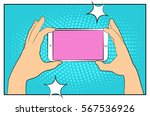 comic phone with halftone... | Shutterstock .eps vector #567536926