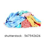 pile of clothes on white... | Shutterstock . vector #567542626
