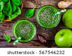 healthy green smoothie with... | Shutterstock . vector #567546232