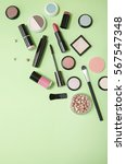 make up products arranged on a... | Shutterstock . vector #567547348