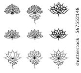 Stock vector  set ornamental lotus flower vector illustrtation tattoo patterned indian paisley 567552148