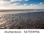 low tide at sunset on north sea ... | Shutterstock . vector #567554956