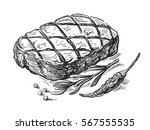 black steak symbol vector... | Shutterstock .eps vector #567555535