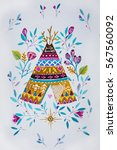 sketch american tepee with... | Shutterstock . vector #567560092