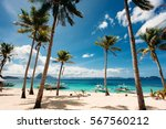tropical beach with palm trees  ... | Shutterstock . vector #567560212