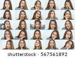 set of emotions beautiful girl... | Shutterstock . vector #567561892