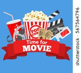 cinema and movie time flat... | Shutterstock .eps vector #567564796