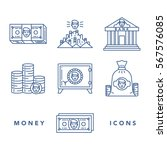 vector icons set of money and... | Shutterstock .eps vector #567576085
